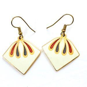 Enameled White red blue dangle earrings